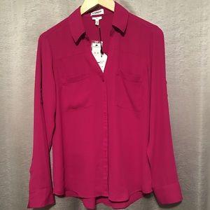 Express Portofino Slim Shirt Blouse Fuchsia